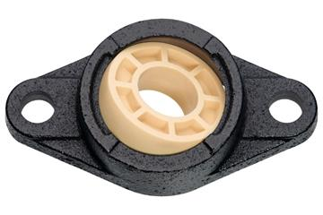 Fixed flange bearings with 2 mounting holes, cast iron housing UC, igubal® JEM-SP